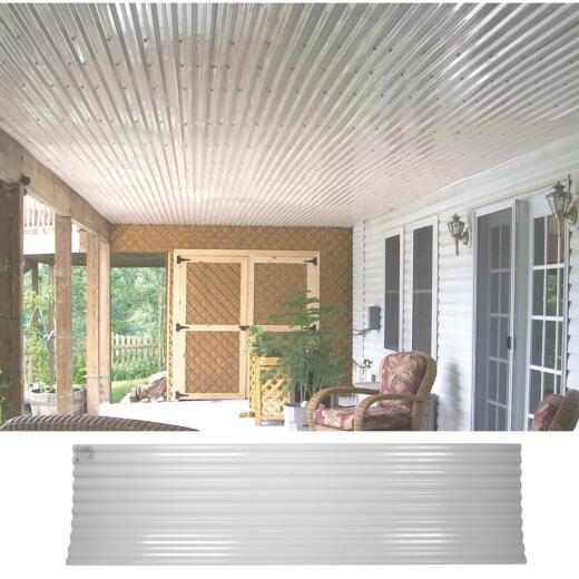Tuftex UltraVinyl 26 In. x 10 Ft. Opaque White Square Wave Polycarb & Vinyl Corrugated Panels