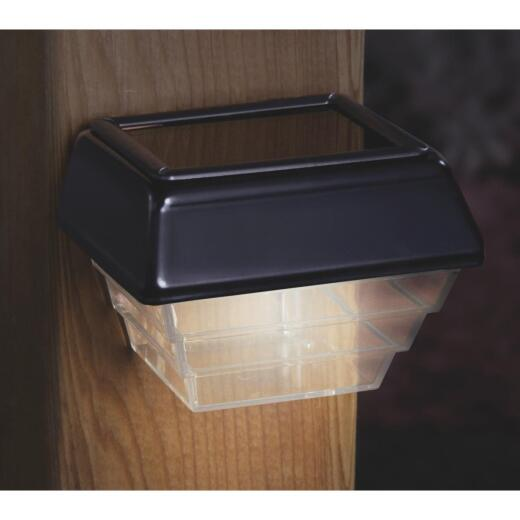 Deckorators 4 In. Black Post & Stair Solar Deck Light (2-Pack)
