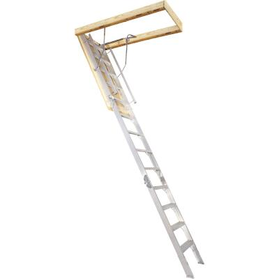 Louisville Everest 10 Ft. to 12 Ft. 25-1/2 In. x 63 In. Aluminum Attic Stairs, 350 Lb. Load