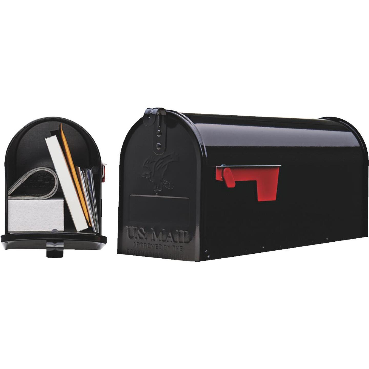 Gibraltar Elite Series T1 Black Steel Rural Post Mount Mailbox Image 1
