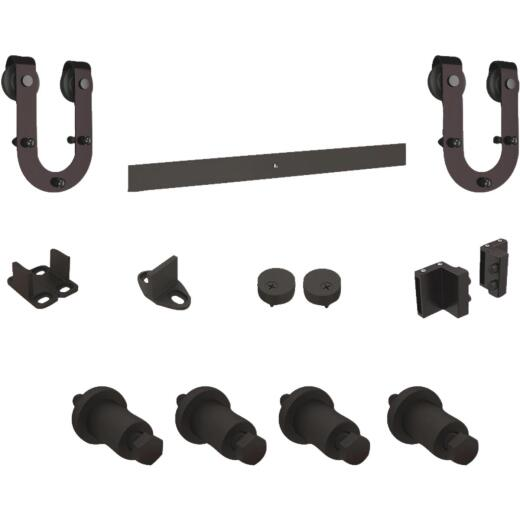 National Oil Rubbed Bronze Steel Up to 200 Lb. Barn Door Hardware Kit