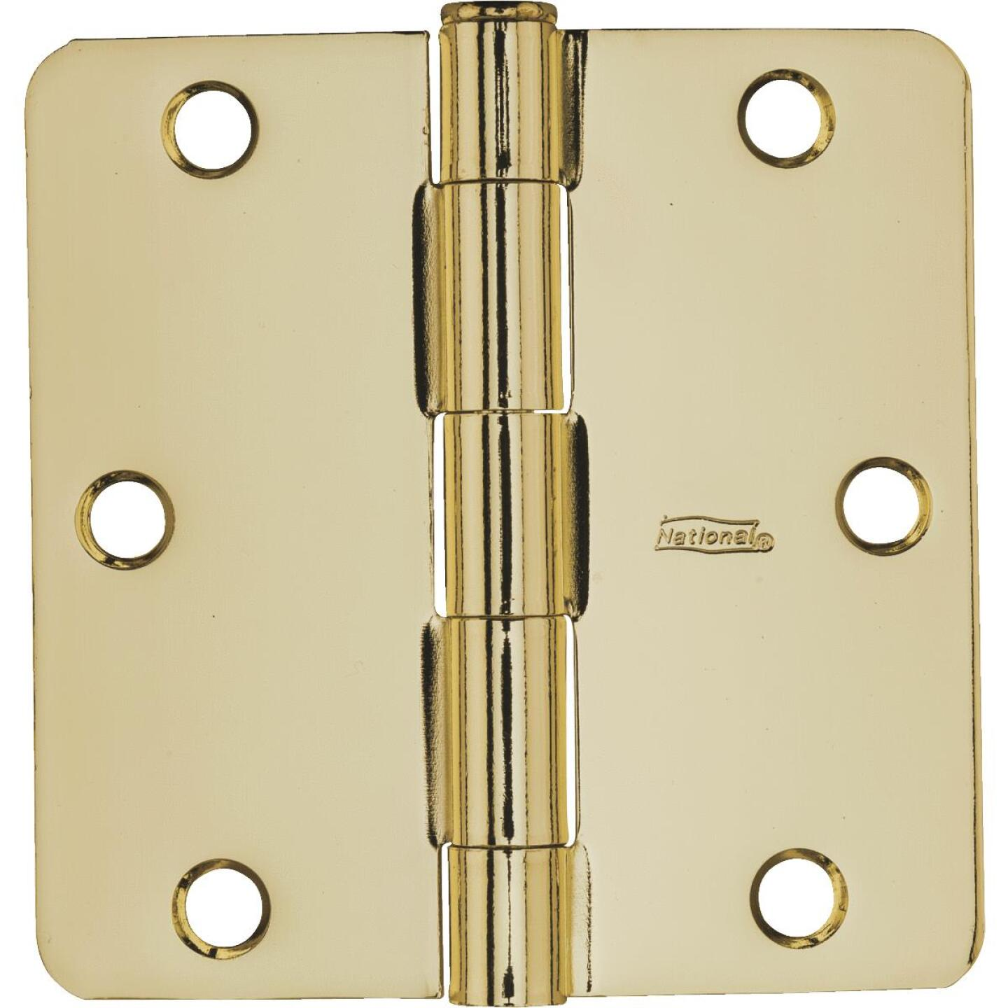 National 3-1/2 In. x 1/4 In. Radius Polished Brass Door Hinge Image 2