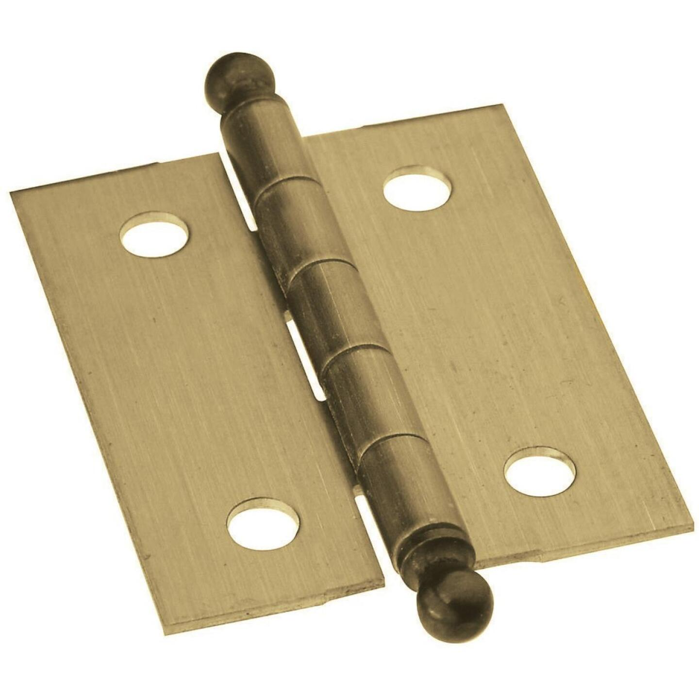 National 1-1/4 In. x 1-1/2 In. Antique Brass Ball Tip Hinge (2-Pack) Image 1