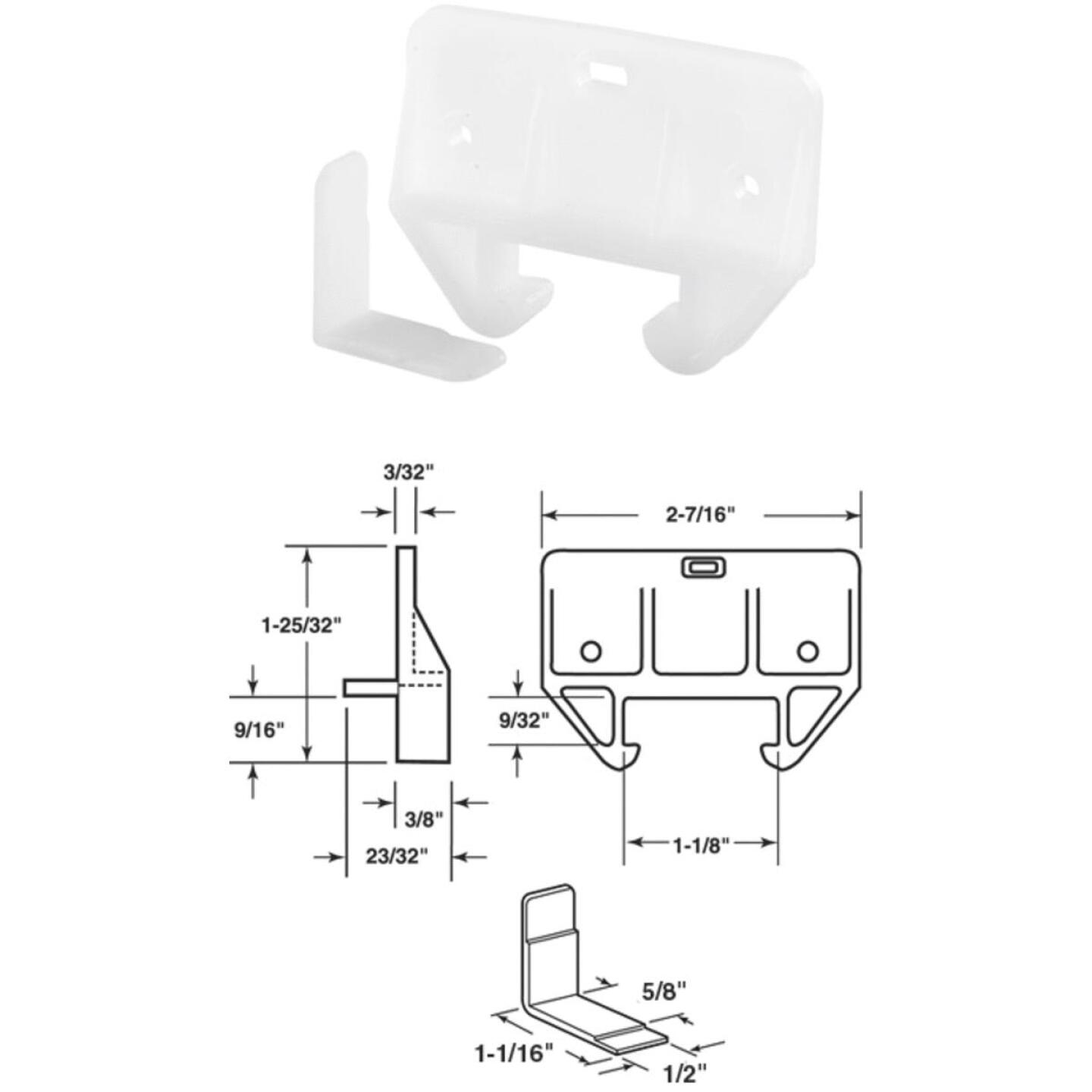 """Prime-Line 1/4"""" x 1-1/16"""" Polyethylene White Track Guide (2 Count) Image 1"""