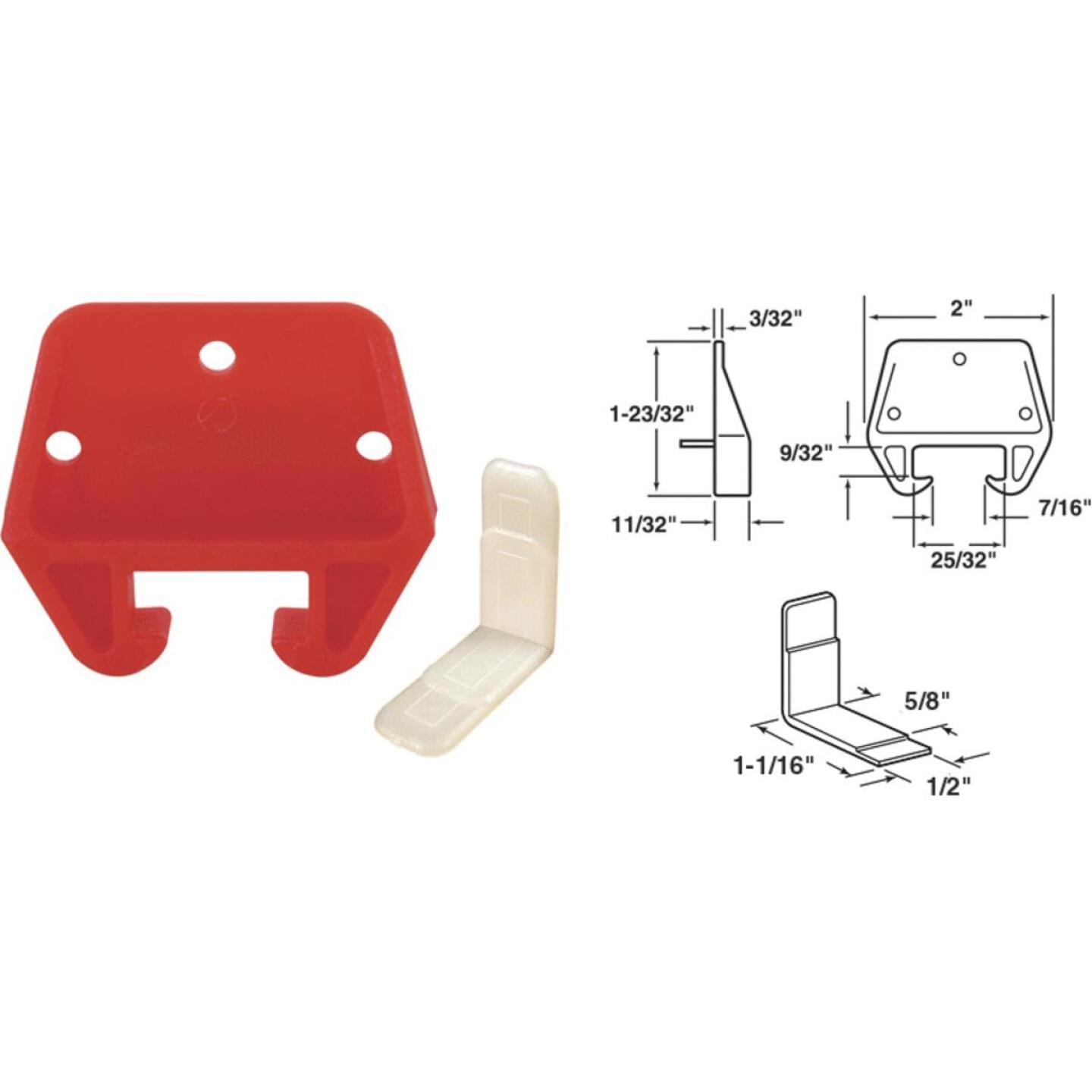 """Prime-Line 13/16"""" x 25/32"""" Polyethylene Track Guide, White and Red (2 Count) Image 1"""