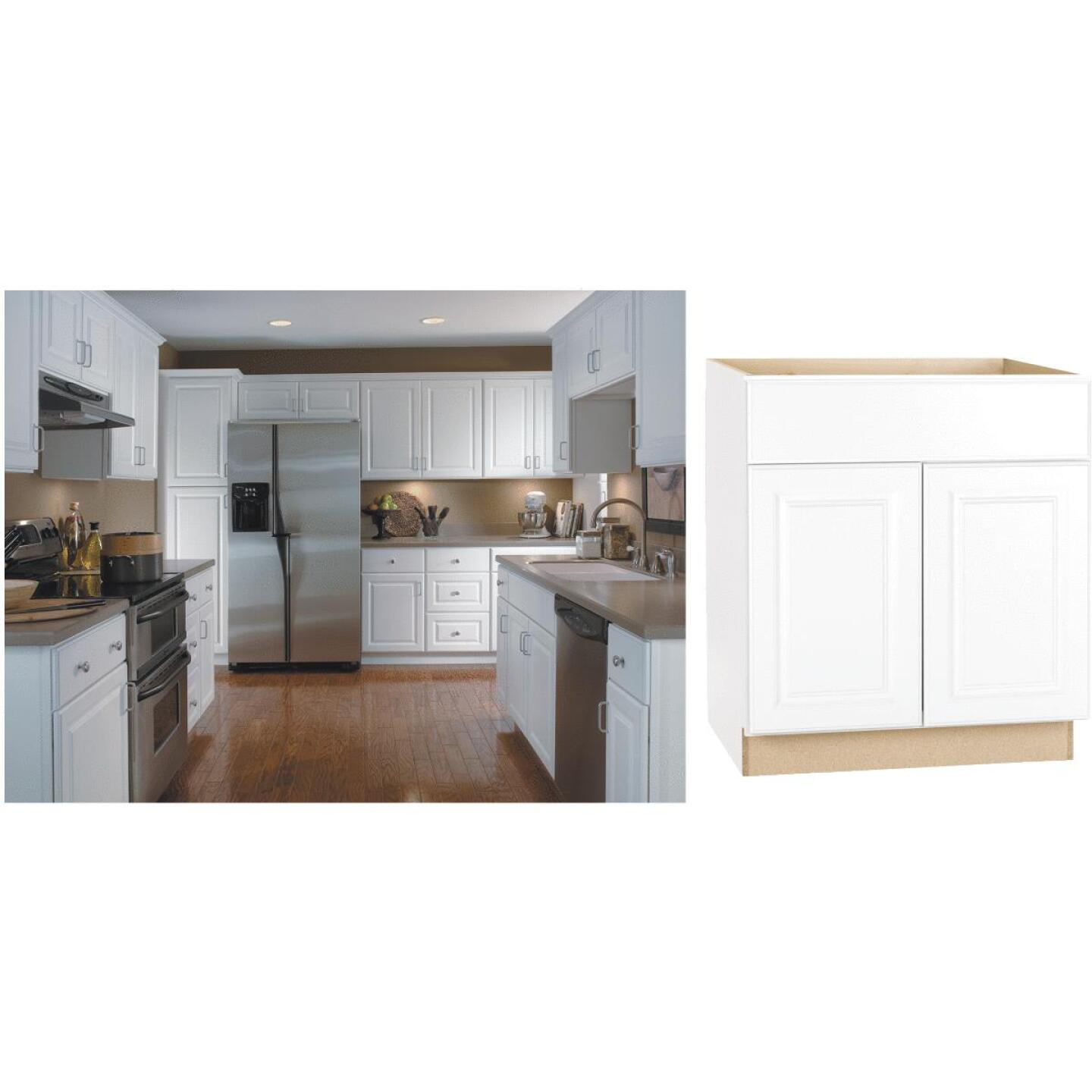 Continental Cabinets Hamilton 30 In. W x 34-1/2 In. H x 24 In. D Satin White Maple Base Kitchen Cabinet Image 1