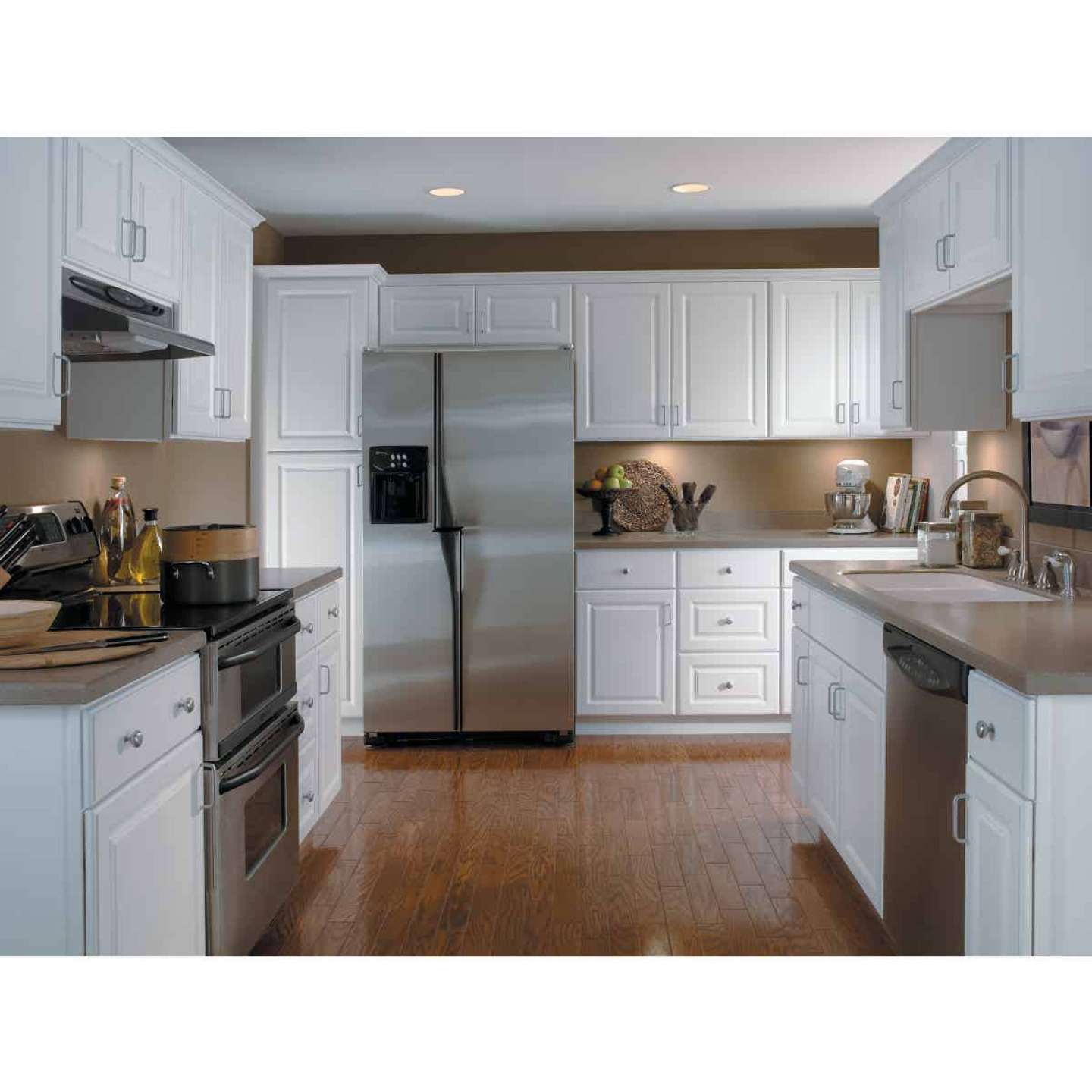 Continental Cabinets Hamilton 36 In. W x 34-1/2 In. H x 24 In. D Satin White Maple Base Kitchen Cabinet Image 2