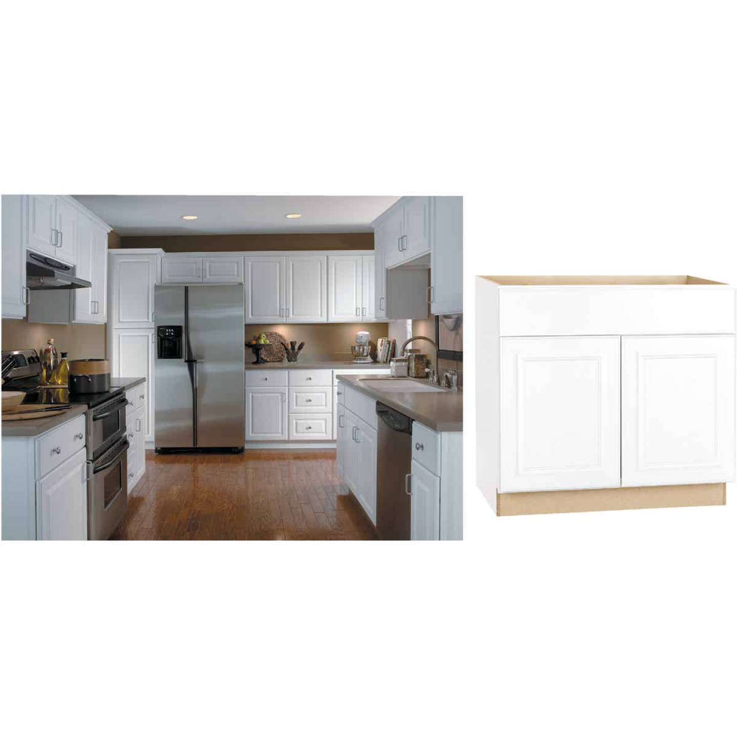 Continental Cabinets Hamilton 36 In. W x 34-1/2 In. H x 24 In. D Satin White Maple Base Kitchen Cabinet Image 1