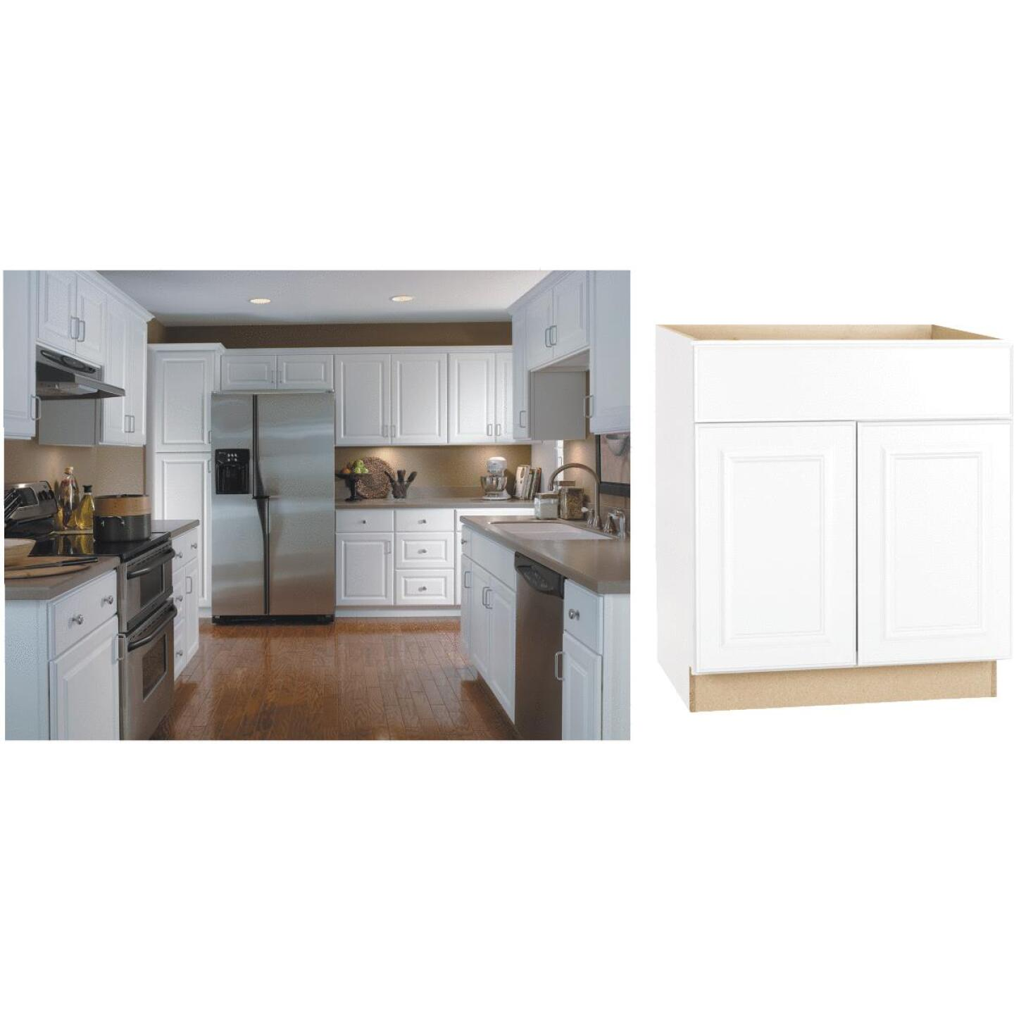 Continental Cabinets Hamilton 30 In. W x 34-1/2 In. H x 24 In. D Satin White Maple Sink/Cooktop Base Kitchen Cabinet Image 1