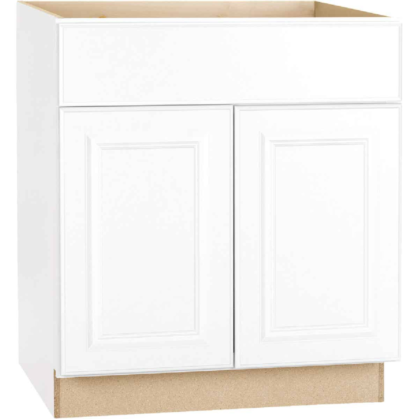 Continental Cabinets Hamilton 30 In. W x 34-1/2 In. H x 24 In. D Satin White Maple Sink/Cooktop Base Kitchen Cabinet Image 3