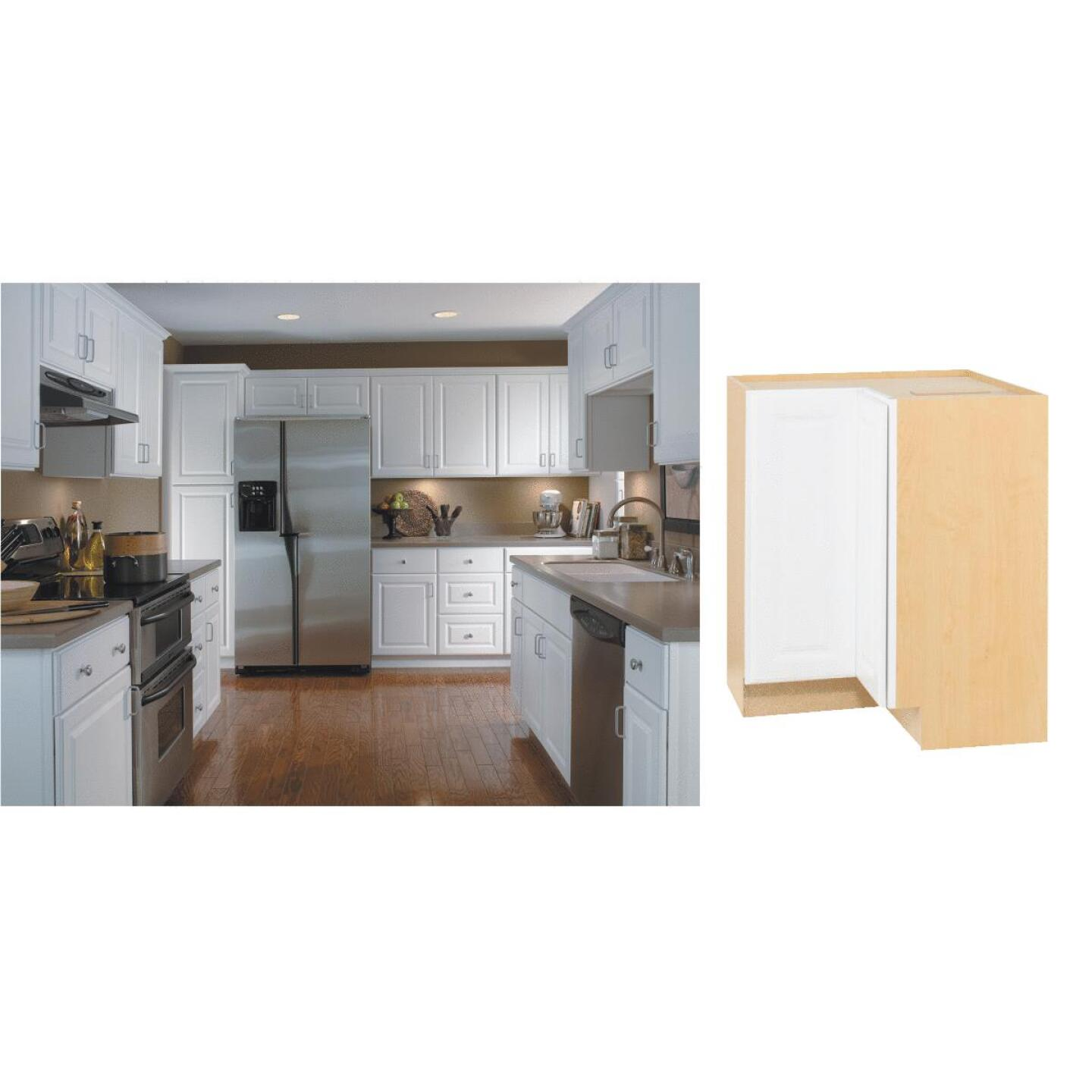 Continental Cabinets Hamilton 36 In. W x 34-1/2 In. H x 24 In. D Satin White Maple Lazy Susan Corner Base Kitchen Cabinet Image 1