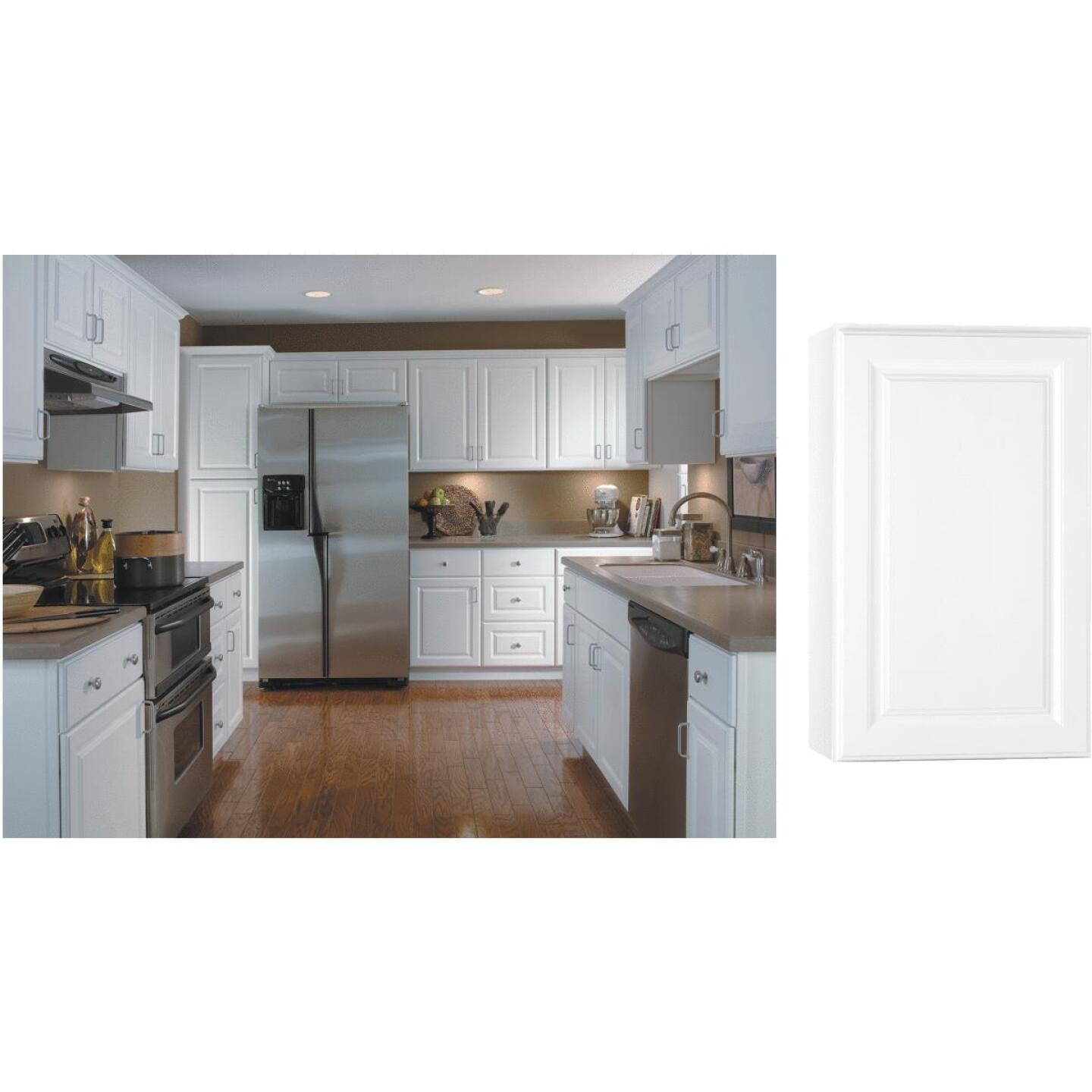 Continental Cabinets Hamilton 18 In. W x 30 In. H x 12 In. D Satin White Maple Wall Kitchen Cabinet Image 1
