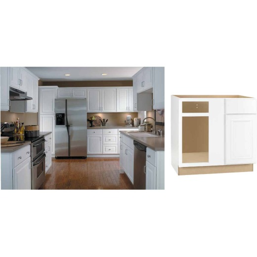 Continental Cabinets Hamilton 36 In. W x 34-1/2 In. H x 24 In. D Satin White Maple Blind Corner Base Kitchen Cabinet