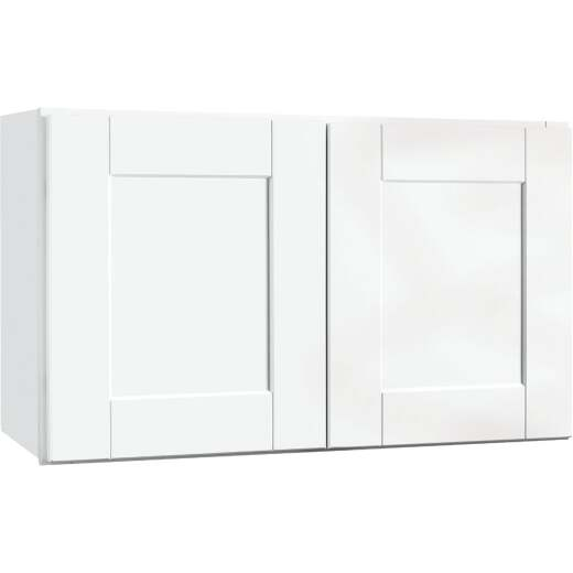 Continental Cabinets Andover Shaker 30 In. W x 18 In. H x 12 In. D White Thermofoil Bridge Wall Kitchen Cabinet