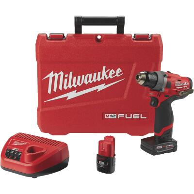 Milwaukee M12 FUEL 12-Volt Lithium-Ion Brushless 1/2 In. Cordless Drill Kit
