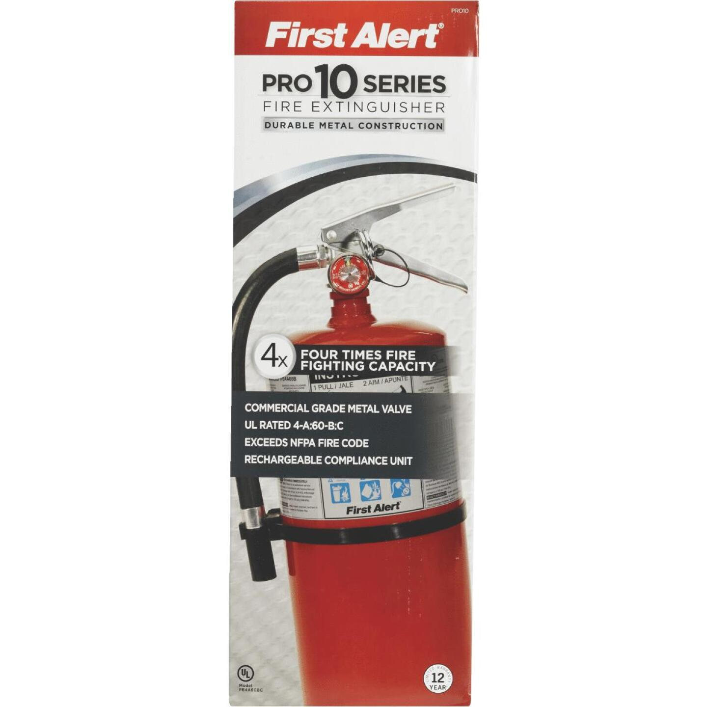 First Alert 4-A:60-B:C Rechargeable Commercial Fire Extinguisher Image 2