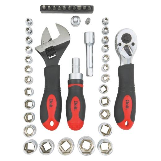 Do it Stubby Standard/Metric 1/4 In. and 3/8 In. Drive 6-Point Shallow Ratchet & Socket Set (43-Piece)