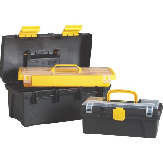 16 In. Black and Yellow Toolbox with Bonus 12 In. Toolbox