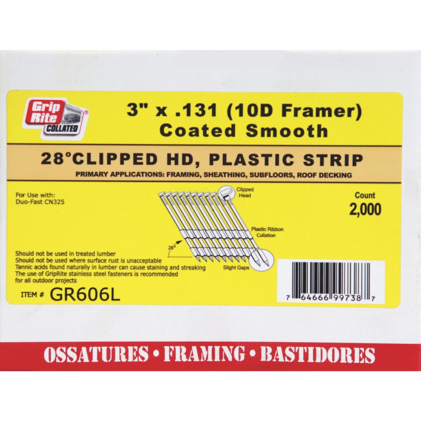 Grip-Rite 28 Degree Plastic Strip Bright Clipped Head Framing Stick Nail, 3 In. x .131 In. (2000 Ct.) Image 1