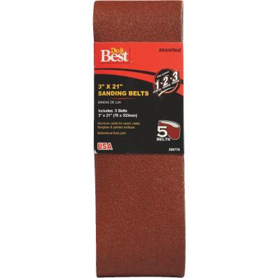 Do it Best 3 In. x 21 In. Assorted Dual Direction Sanding Belt (5-Pack)