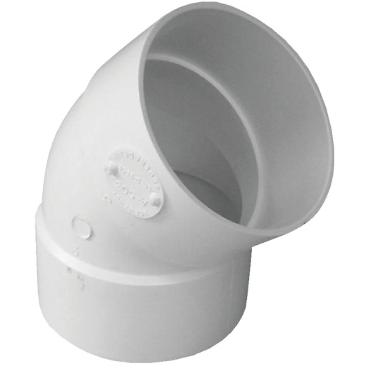 IPEX Canplas 3 In. SDR 35  45 Deg. PVC Sewer and Drain Elbow (1/8 Bend)