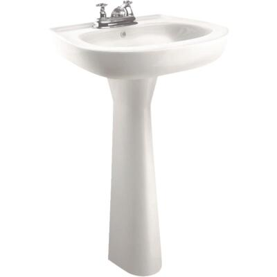 Cato Jazmin White Vitreous China Pedestal Sink with 4 In. Faucet Centers