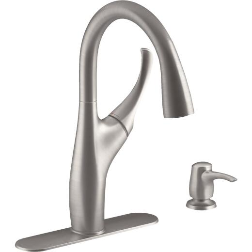 Kohler Mazz Single Handle Lever Pull-Down Kitchen Faucet, Stainless