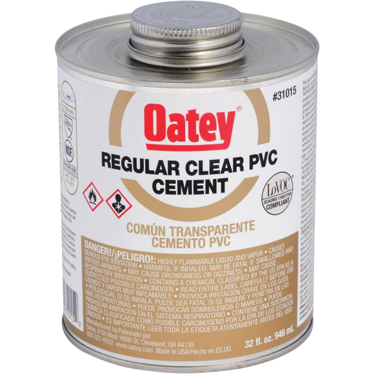 Oatey 32 Oz. Regular Bodied Clear PVC Cement Image 1