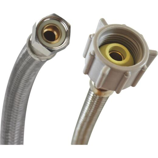 "Fluidmaster 3/8"" Comp x 7/8"" Ballcock x 12"" L Braided Stainless Steel Toilet Connector"