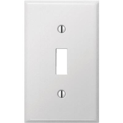 Amerelle PRO 1-Gang Stamped Steel Toggle Switch Wall Plate, Smooth White