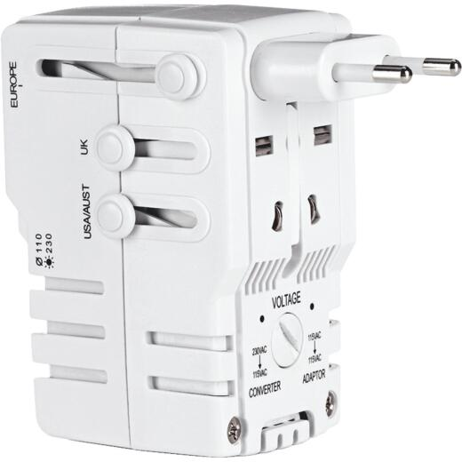 Franzus Travel Smart 2-Blade All-In-One Foreign Plug Adapter Combination Unit