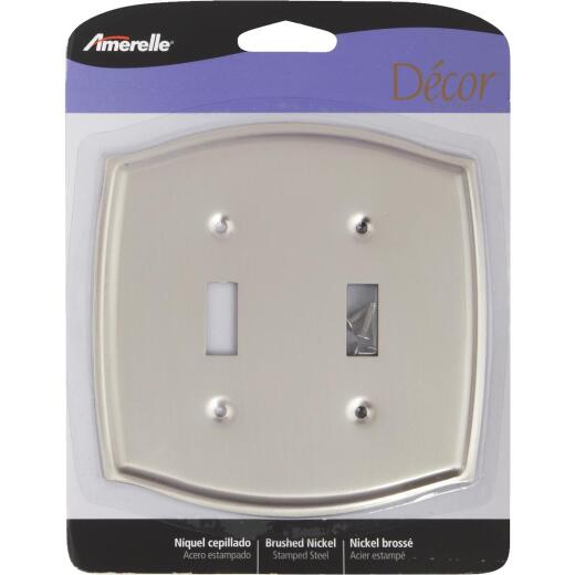 Amerelle Sonoma 2-Gang Stamped Steel Toggle Switch Wall Plate, Brushed Nickel