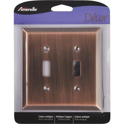 Amerelle 2-Gang Stamped Steel Toggle Switch Wall Plate, Antique Copper