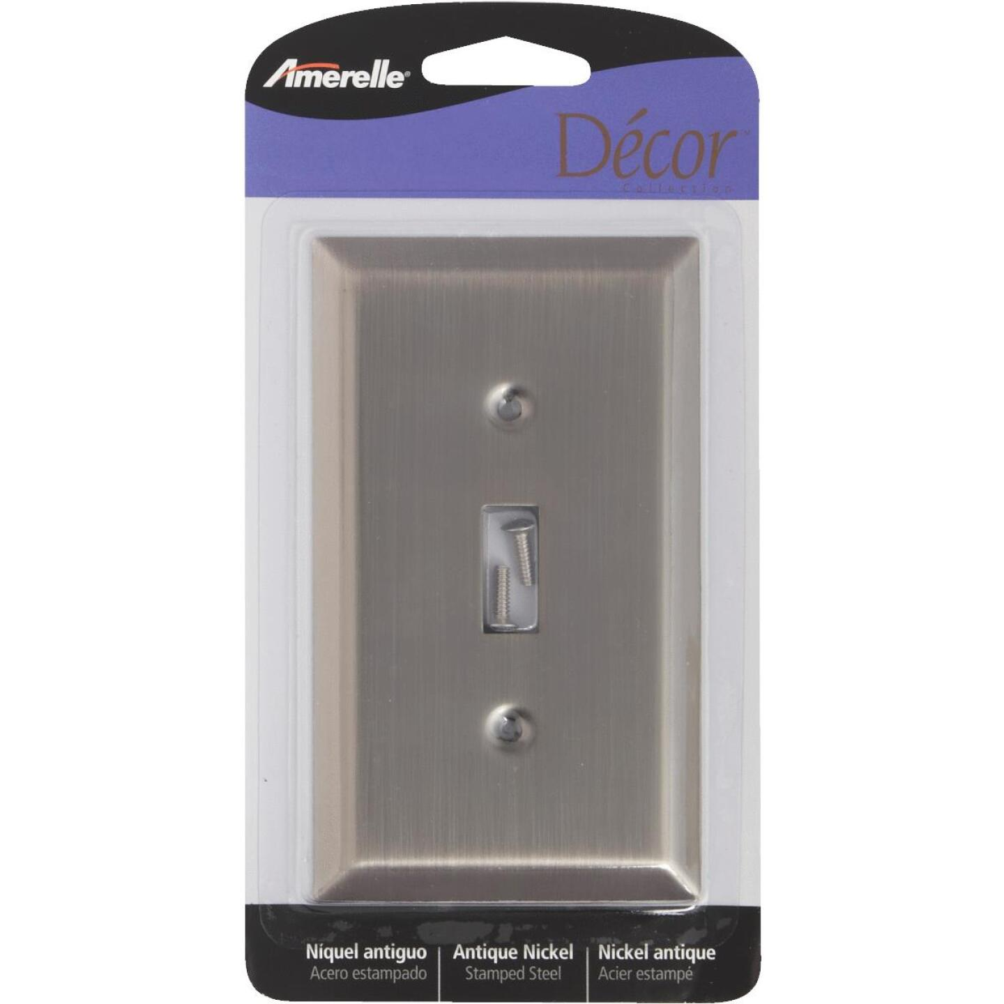 Amerelle 1-Gang Stamped Steel Toggle Switch Wall Plate, Antique Nickel Image 1