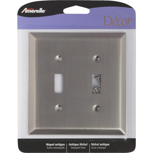 Amerelle 2-Gang Stamped Steel Toggle Switch Wall Plate, Antique Nickel