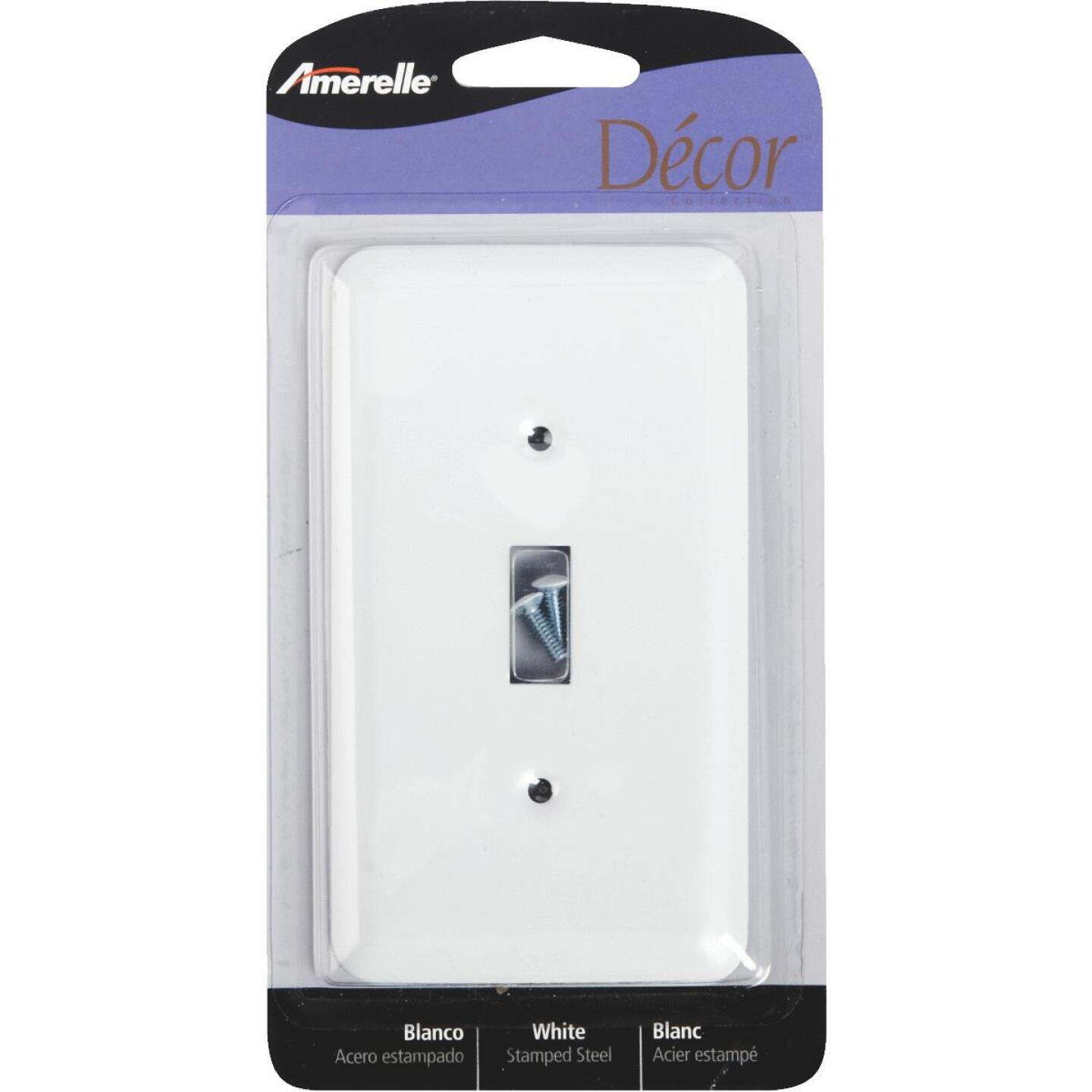 Amerelle 1-Gang Stamped Steel Toggle Switch Wall Plate, White Image 1