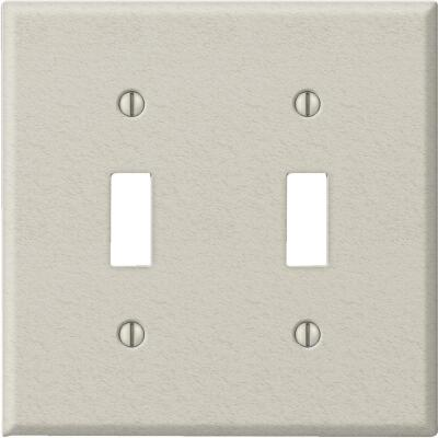 Amerelle PRO 2-Gang Stamped Steel Toggle Switch Wall Plate, Light Almond Wrinkle