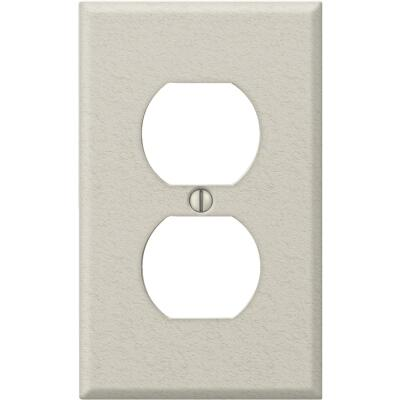 Amerelle PRO 1-Gang Stamped Steel Outlet Wall Plate, Light Almond Wrinkle