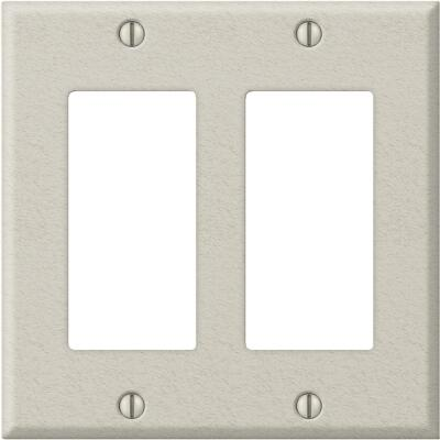Amerelle PRO 2-Gang Stamped Steel Rocker Decorator Wall Plate, Light Almond Wrinkle
