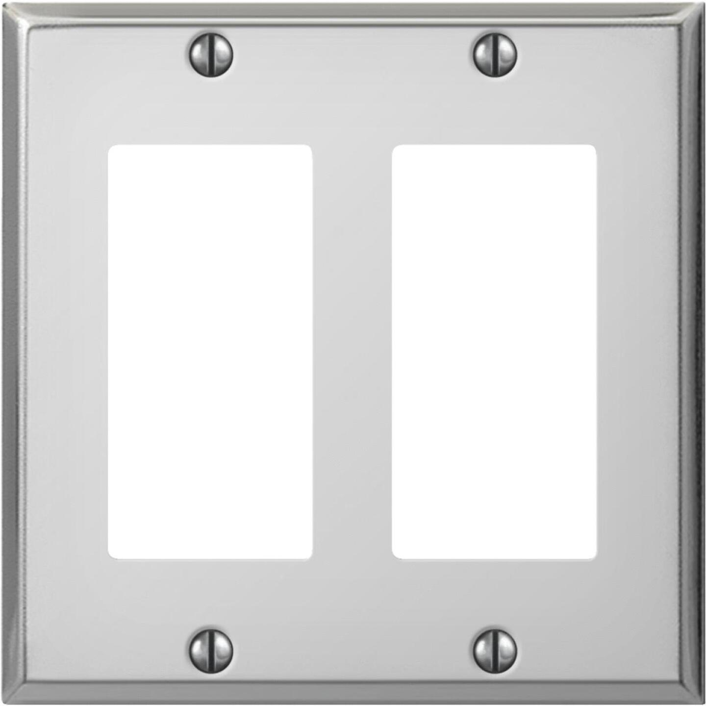 Amerelle PRO 2-Gang Stamped Steel Rocker Decorator Wall Plate, Polished Chrome Image 1