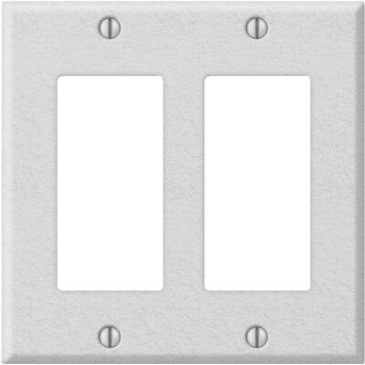 Amerelle PRO 2-Gang Stamped Steel Rocker Decorator Wall Plate, White Wrinkle