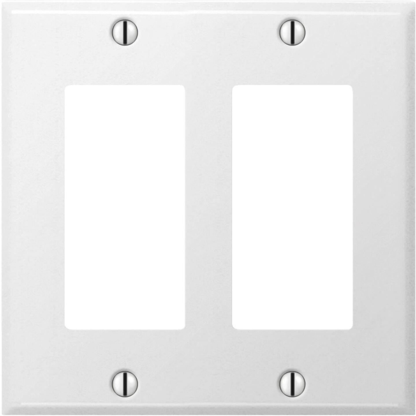 Amerelle PRO 2-Gang Stamped Steel Rocker Decorator Wall Plate, Smooth White Image 1