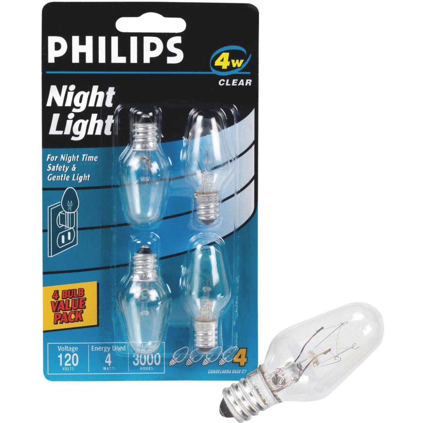 Philips 4W Clear Candelabra C7 Incandescent Night Light Bulb (4-Pack) Image 1
