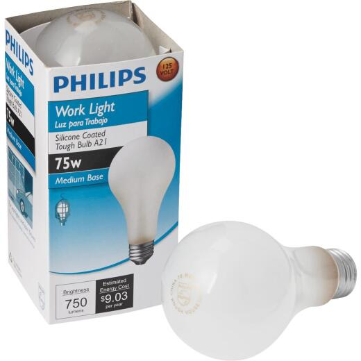 Philips 75W Silicone Coated Medium A21 Incandescent Rough Service Light Bulb