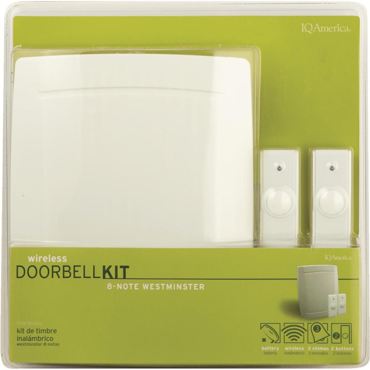IQ America Step-Up Battery Operated Wireless Off-White Door Chime with 2 Push Buttons Image 2