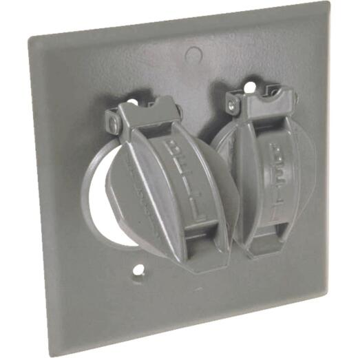Hubbell 2-Gang Vertical Corrosion Resistant Aluminum Weatherproof Outdoor Outlet Cover