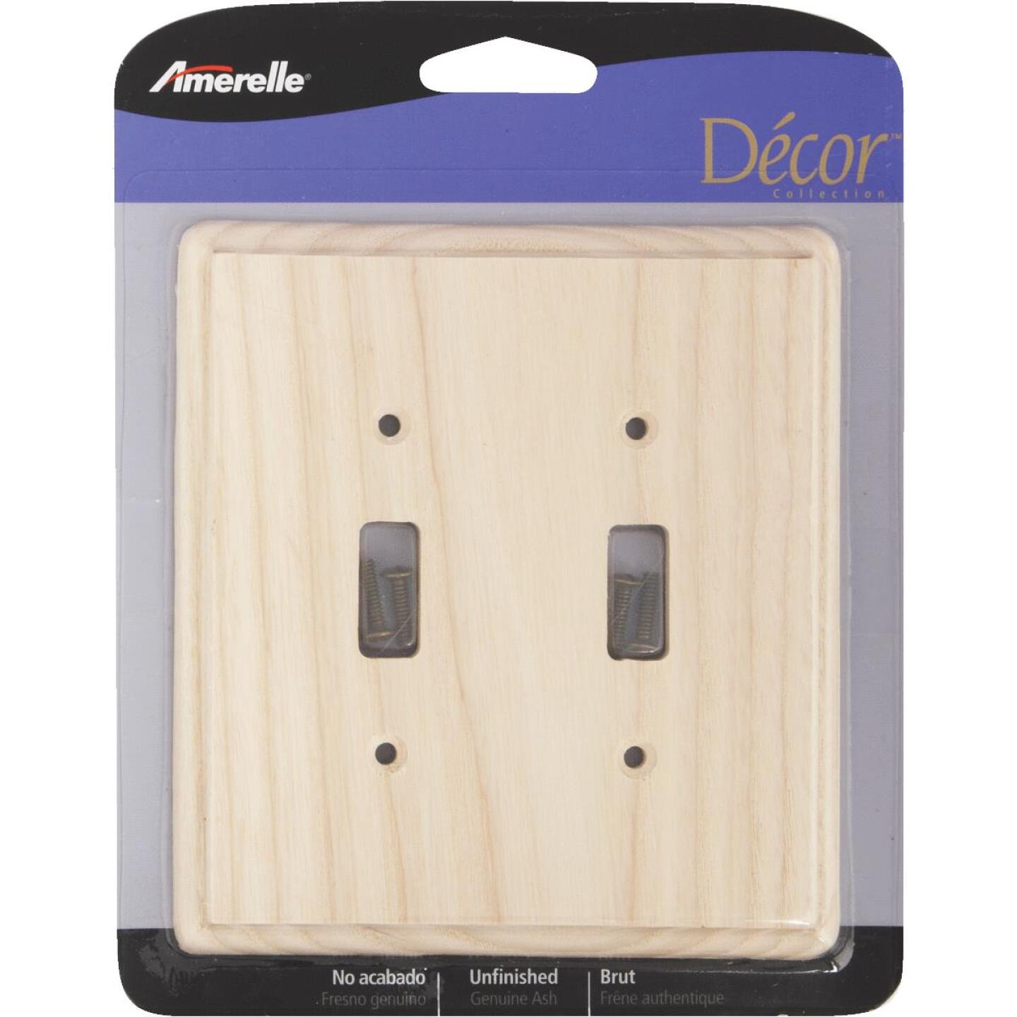 Amerelle 2-Gang Solid Ash Toggle Switch Wall Plate, Unfinished Ash Image 2