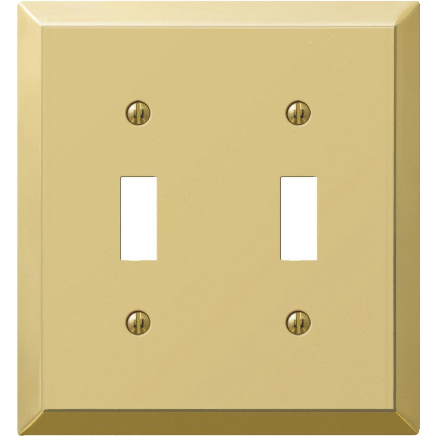 Amerelle 2-Gang Stamped Steel Toggle Switch Wall Plate, Polished Brass Image 1