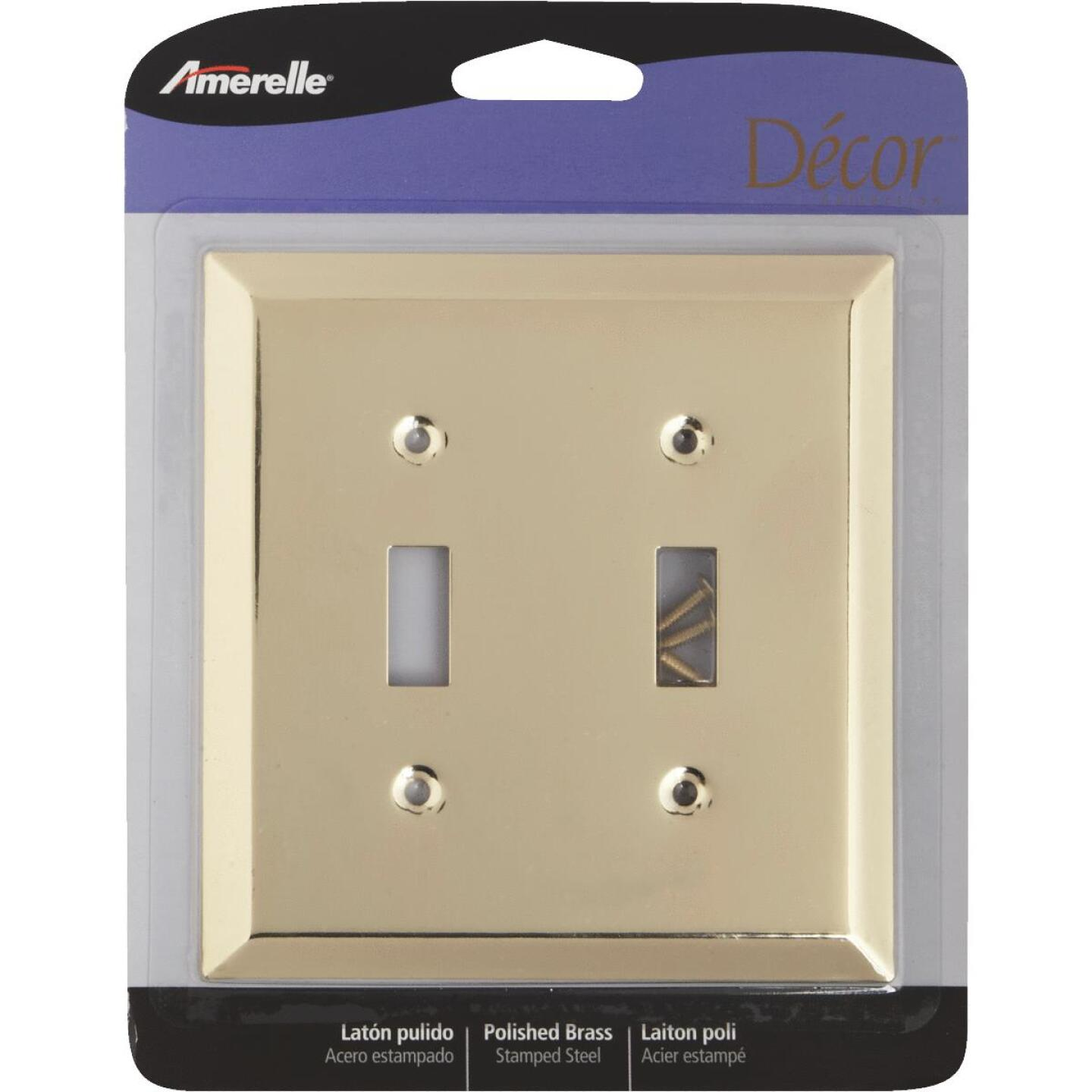 Amerelle 2-Gang Stamped Steel Toggle Switch Wall Plate, Polished Brass Image 2