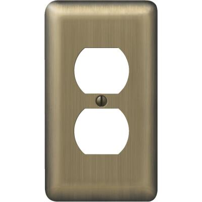 Amerelle 1-Gang Stamped Steel Outlet Wall Plate, Brushed Brass